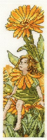 DMC Cross Stitch Kit - Flower Fairies - The Marigold Fairy Bookmark