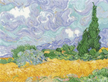 DMC Cross Stitch Kit - The National Gallery - Van Gogh - A Wheatfield, with Cypresses