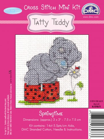 DMC Cross Stitch Kit - Mini Tatty Teddy - Springtime