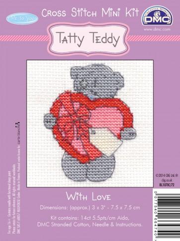 DMC Cross Stitch Kit - Mini Tatty Teddy - With Love