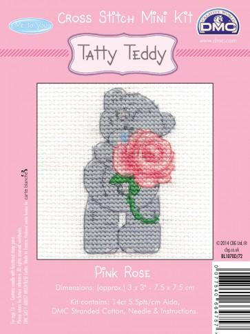 DMC Cross Stitch Kit - Mini Tatty Teddy - Pink Rose