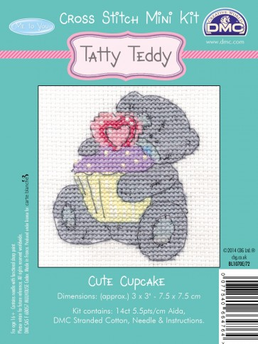 DMC Cross Stitch Kit - Mini Tatty Teddy - Cute Cupcake
