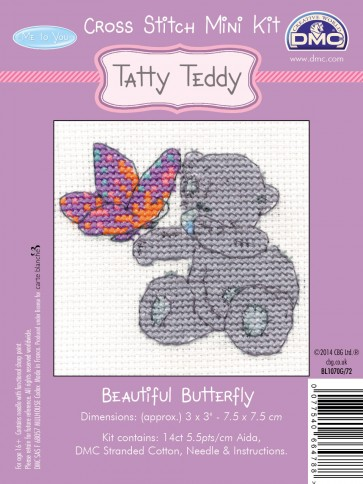 DMC Cross Stitch Kit - Mini Tatty Teddy - Beautiful Butterfly