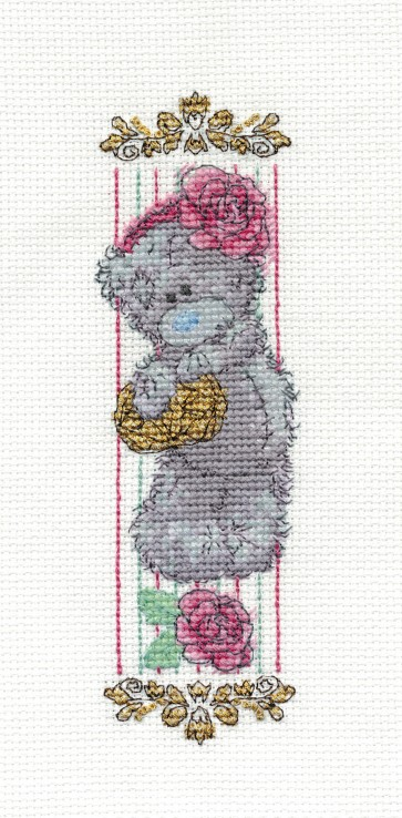 DMC Cross Stitch Kit -Tatty Teddy - Vintage Rose Bookmark