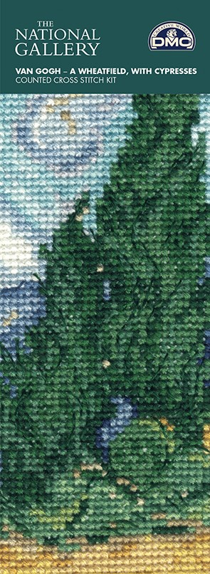 DMC Cross Stitch Kit - The National Gallery - Van Gogh - A Wheatfield with Cypresses