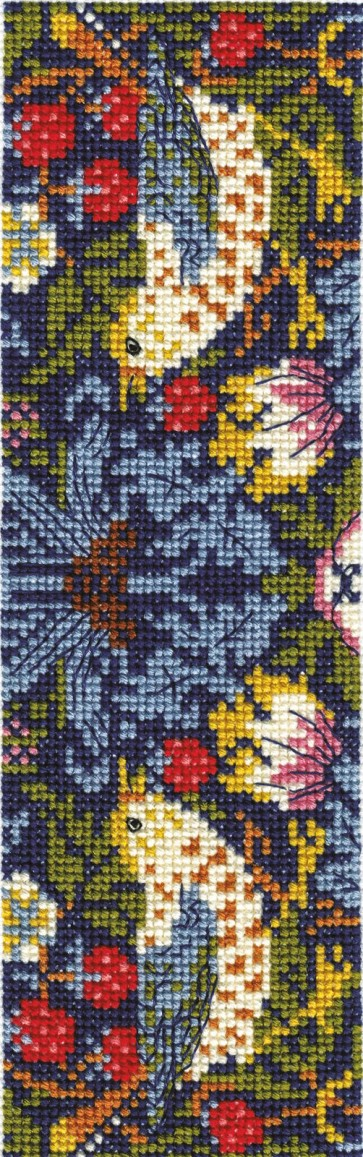 DMC Counted Cross Stitch Bookmark Kit - Strawberry Thief