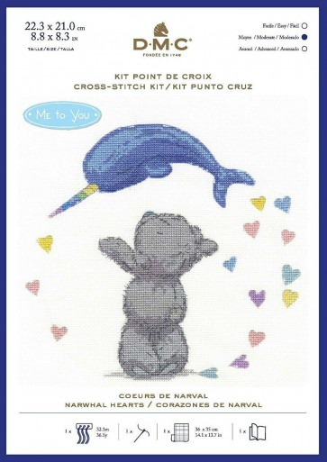 DMC Counted Cross Stitch Kit - Narwhal Hearts