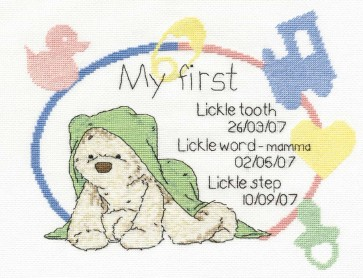 DMC Cross Stitch Kit - Lickle Ted - Precious Lickle Moments