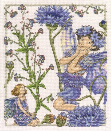 DMC Cross Stitch Kit - Flower Fairies - The Forget-Me-Not and The Cornflower Fairies