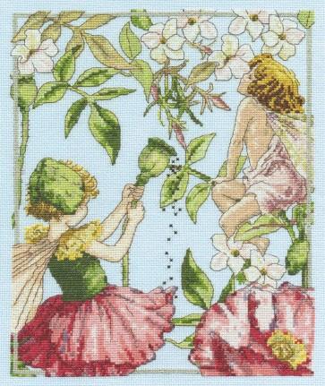 DMC Cross Stitch Kit - Flower Fairies - The Jasmine and Shirley Poppy Fairies