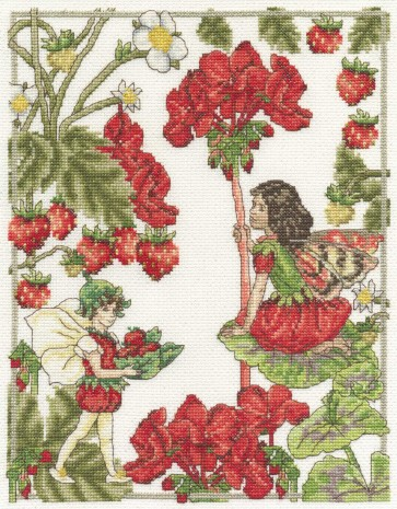 DMC Cross Stitch Kit - Flower Fairies - The Geranium and Strawberry Fairies