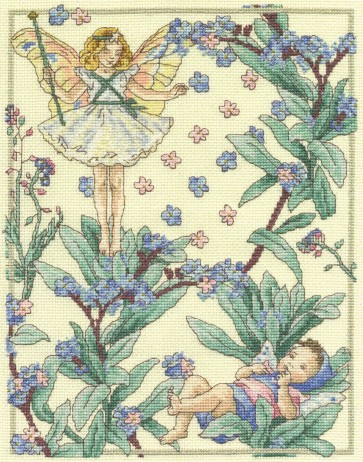 DMC Cross Stitch Kit - The Christmas Tree and The Forget-Me-Not Fairies
