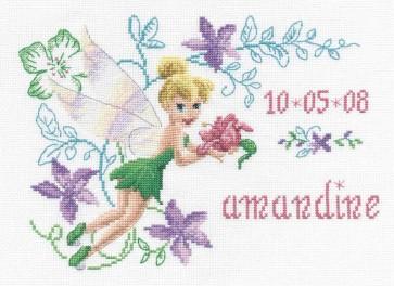 DMC Cross Stitch Kit - Disneys Tinker Bell - Tinker Bell First Name Canvas