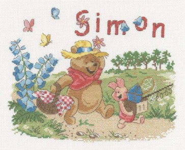 DMC Cross Stitch Kit - Disney Winnie The Pooh - Winne First Name Canvas