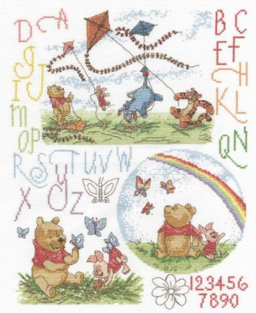 DMC Cross Stitch Kit - Disney Winnie The Pooh - Winnie Playing Outdoors
