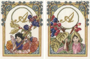 DMC Cross Stitch Kit - The Blackberry Fairy and The Wayfaring Tree Fairy