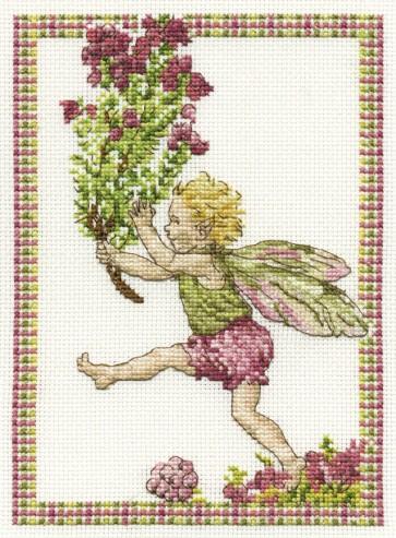 DMC Cross Stitch Kit - Flower Fairies - The Heather Fairy