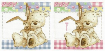 DMC Cross Stitch Kit - Lickle Ted - Lickle Cuddles First Initial