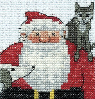 DMC Cross Stitch Kit - Christmas - Father Christmas With His Cat And Dog