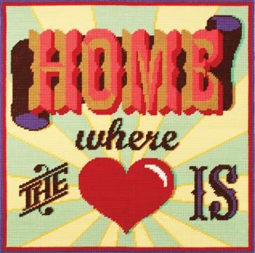 DMC Tapestry Cushion Kit - Homespun - Home Where The Heart Is