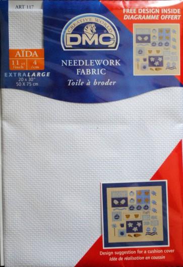 DMC 11 Count Aida Fabric 20x30 Inches (50x75cm) - Blanc - DC18