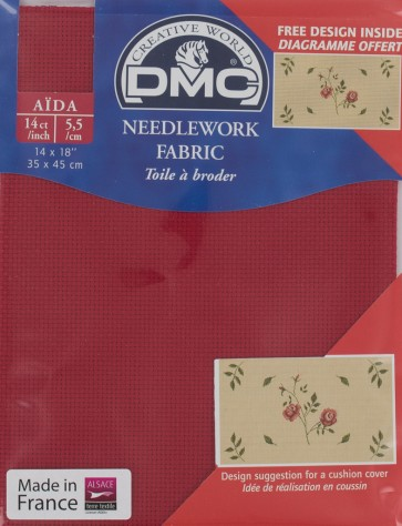 14 Count Red Aida Fabric 14x18 Inches (35x45cm) - 321 - DC27/10