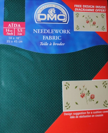 14 Count Aida Fabric 14x18 Inches (35x45cm) - Green - DC27/500