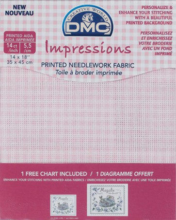 14 Count Impressions Aida 14x18 Inches (35x45cm) - Pink Checks - DC27B