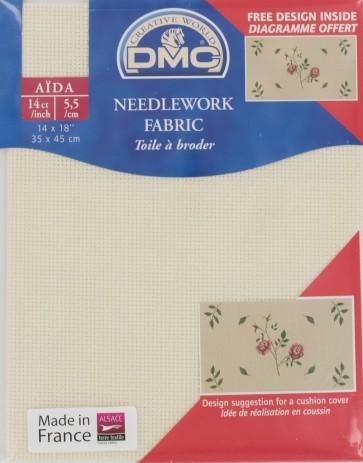 DMC 14 Count Iridescent Cream Aida Fabric 14x18 Inches (35x45cm) - DC27IRI/3823