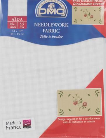 DMC 14 Count Iridescent White Aida Fabric 14x18 Inches (35x45cm) - DC27IRI/Blanc