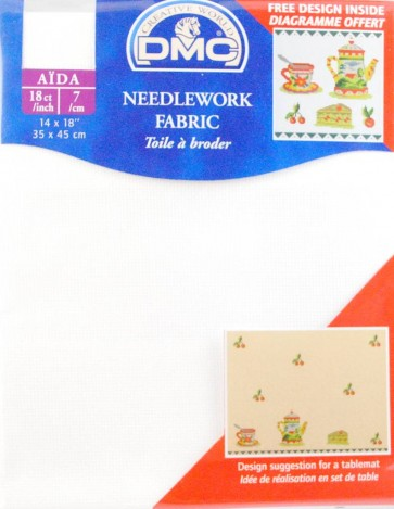 18 Count Aida Fabric 14x18 Inches (35x45cm) - Blanc - DC37/10
