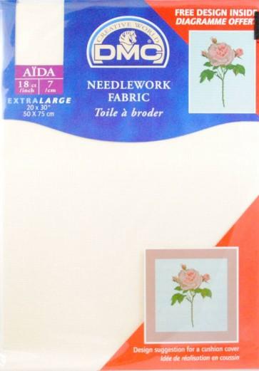 18 Count Aida Fabric 20x30 Inches (50x75cm) - Ecru - DC38/10