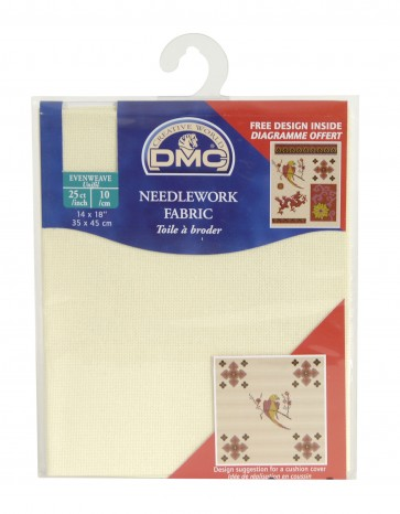 DMC 25 Count Evenweave Fabric 14x18 Inches (35x45cm) - Ecru - DC57/10