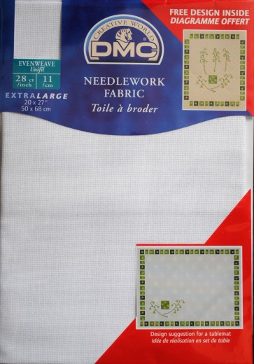 DMC 28 Count Evenweave Fabric 20x27 Inches (50x68cm) - Blanc - DC58A