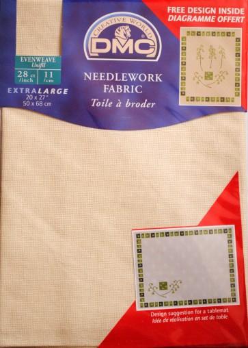 DMC 28 Count Evenweave Fabric 20x27 Inches (50x68cm) - Ecru - DC58A