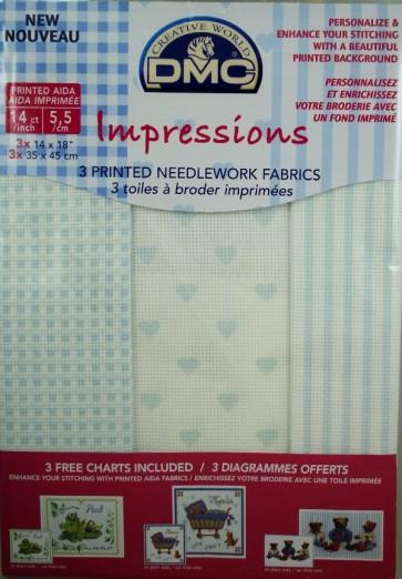 14 Count Aida Impressions Fabric 14x18 Inches (35x45cm) - Blue