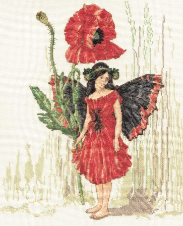 DMC Cross Stitch Kit - Flower Fairies - The Poppy Fairy