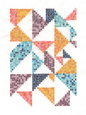 DMC Printed Embroidery Kit - Geometry Rules - Pixel Nation