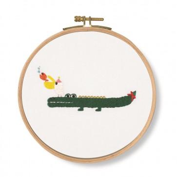 DMC Printed Embroidery Kit - Pet's Party - Invitation! Crocodile