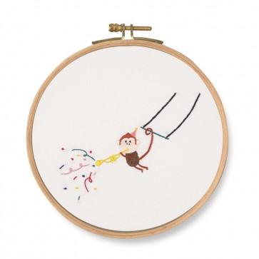 DMC Printed Embroidery Kit - Pet's Party - Trumpet! Monkey