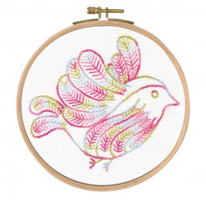 DMC Printed Embroidery Kit - Little Birds - Cloud Surfing