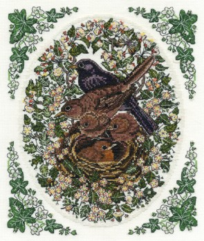DMC Cross Stitch Kit - Countryside - Blackbirds