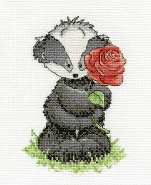 DMC Cross Stitch Kit - Woodland Folk - Bert Badger With A Rose