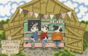 DMC Cross Stitch Kit - Cows On The Moo-ve - The Milkshake Barn
