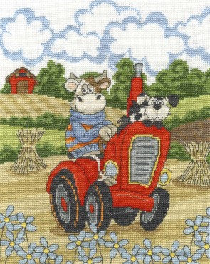 DMC Cross Stitch Kit - Cows On The Moo-ve - Cruising Cow