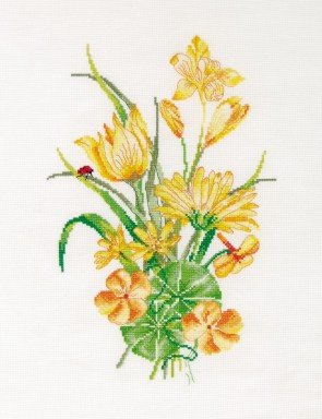 DMC Cross Stitch Kit - Florals - The Yellow Bouquet