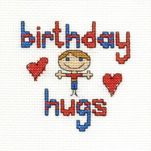 DMC Cross Stitch Kit - Mini Birthday Kit - Birthday Hugs Boy