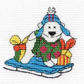 DMC Cross Stitch Kit - Polar Bear - Mini Christmas Kit