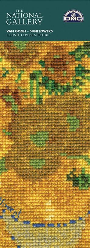 DMC Cross Stitch Kit - The National Gallery - Van Gogh - Sunflowers Bookmark