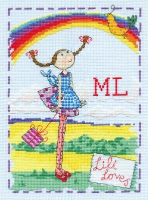 DMC Cross Stitch Kit - Lili Loves - Lili Loves Rainbows